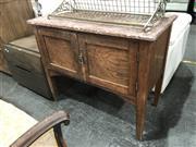 Sale 8868 - Lot 1182 - Oak Marble Top Pot Cupboard