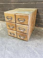 Sale 8962 - Lot 1076 - Rustic 6 Drawer Table Top Card Filer (H:36 x W:33 x D:48cm)