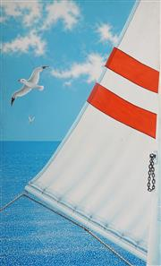 Sale 8992 - Lot 502 - Mary Pinnock (1951 - ) - White & Red Sail & Seagulls, 1982 151 x 90 cm (frame: 153 x 92 x 4 cm)