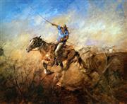Sale 8996A - Lot 5042 - Hugh Sawrey (1919 - 1999) - The Man Who Steadies the Lead 63 x 74.5 cm