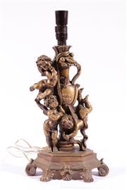 Sale 9010D - Lot 730 - A Composite Cherubic motif lamp base (H45cm)