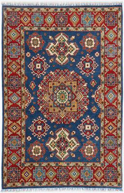 Sale 9199J - Lot 50 - A natural dye Caucasian design sky all wool natural dye blue field Afghan tribal rug, 216cm x 148cm