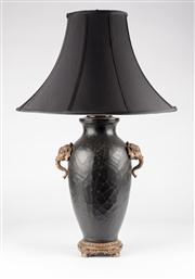 Sale 8350L - Lot 28 - A pair of Italian black crackle finish lamps with twin handles on base and lined black shades, total H 68cm, RRP $ 1480