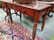 Sale 8485 - Lot 1006 - Late 19th Century Cedar Side Table, with two drawers & turned bobbin legs