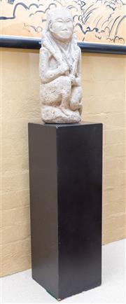 Sale 8550H - Lot 52 - An oriental stone figure of a seated man on an associated black plinth, H 49cm