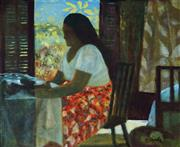 Sale 8958A - Lot 5013 - Ray Crooke (1922 - 2015) - Interior, Yorkeys Knob 45.5 x 55 cm (frame: 56 x 66 x 3 cm)