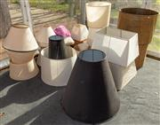 Sale 8984W - Lot 524 - A large collection of lampshades mainly conical plus two large wax paper drum form examples w 62cm