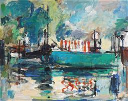 Sale 9067 - Lot 569 - Ingrid Haydon (1945 - ) - Harbour Scene 89.5 x 120 cm (frame: 100 x 130 x 4 cm)