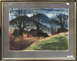 Sale 9103 - Lot 2064 - Artist Unknown Cottages and Barren Trees pastel on paper, 56 x 73cm, signed
