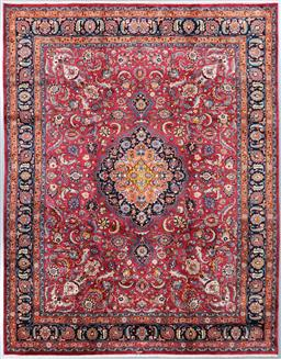 Sale 9199J - Lot 81 - An inscribed fine and densely woven vintage Mashad rug, with deep maroon field and an attractive contrasting blue border, 385cm x 283cm