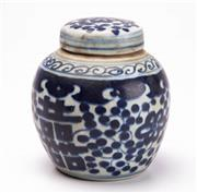Sale 8855D - Lot 621 - A small Chinese blue and white ginger jar, height 11cm