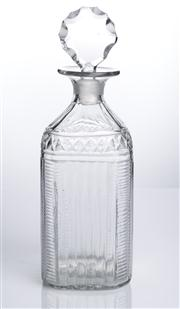 Sale 8528A - Lot 45 - A Georgian square glass decanter, cut and polished, with fluted body, strawberry band and original stopper, total H 22cm