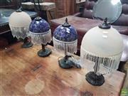 Sale 8593 - Lot 1056 - Collection of 4 Glass Shade Table Lamps