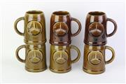 Sale 8761 - Lot 86 - Set of 6 Mid Century Lischer Australia Olive Green Glazed Mercedes Mugs