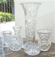 Sale 8908H - Lot 95 - A small quantity of cut glassware mainly vases (6), Height of tallest 26cm