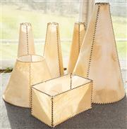 Sale 8984W - Lot 525 - A collection of six pigskin lampshades. H of largest 80cm