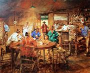 Sale 8996A - Lot 5043 - Hugh Sawrey (1919 - 1999) - The Four Deuces, The Poker Game, Kogan Creek Hotel, QLD 63 x 74.5 cm