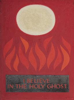 Sale 9096 - Lot 562 - John Coburn (1925 - 2006) I Believe in the Holy Ghost oil on board 102 x 76 cm (frame: 105 x 78 x 3 cm) signed lower right