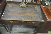 Sale 8352 - Lot 1032 - Possibly 17th Century Oak Writing Slope on Stand, the slope with later carving & fitted drawers (alterations)