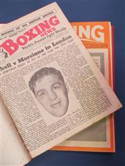 Sale 8419A - Lot 63 - Boxing 1912 - a box containing a bound copy of Boxing 1912 (no covers), Allsports 1922 (bound), Boxing 1931 & 1932, Boxing October-D...