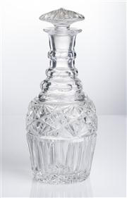 Sale 8528A - Lot 48 - A Georgian style cut triple ring neck decanter, with star band and mushroom stopper, total H 22cm