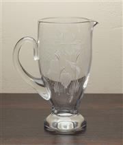 Sale 8871H - Lot 89 - A vintage English Stuart hand cut lead crystal large jug with exceptional quality hand engraving, Richelieu pattern, Height  24cm