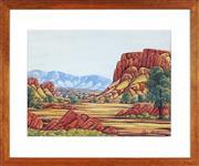 Sale 9080J - Lot 41 - Clem Abbott (1939 - 1989) - Central Australian Landscape 35 x 47 cm (frame: 55 x 65 x 2 cm)