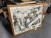 Sale 9061 - Lot 2093 - Sleeper Hewers, Historic poster by the Forestry Commission of NSW, North Coast NSW, c1890