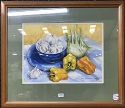 Sale 9103 - Lot 2019 - Jann Attwood Still Life - Fennel, Peppers and Garlic on Checked Cloth watercolour 58 x 48cm, signed
