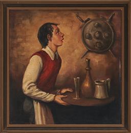 Sale 9155 - Lot 2053 - RAYMOND LINDSAY (1904 - 1960) The Waiter oil on canvas laid on board 37.5 x 36.5 cm (frame: 44 x 43 x 2 cm) signed lower left