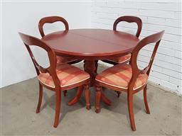 Sale 9146 - Lot 1064 - 5 piece dining suite extension table with 4 balloon back chairs (h74 x 106cm)