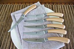 Sale 9240L - Lot 93 - 6-Piece Steak Knife Set - Rose Gold - Laguiole Mondial by Louis Thiers