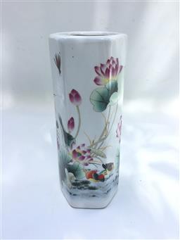 Sale 9175G - Lot 68 - Ceramic Vase / Brush pot .Size 19cm H x 8cm D.General Wear