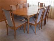 Sale 8313A - Lot 5 - A Van Treight teak extension dining table with eight matching chairs, width 106cm, un-extended length 200cm (with protective cover)