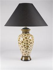 Sale 8350L - Lot 31 - A pair of Italian hand painted animal print urn lamps with black shades, total H 66cm, RRP $ 1250