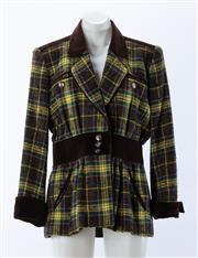 Sale 8910F - Lot 28 - A vintage Saint Laurent, Paris rive gauche tartan field jacket with brown velvet trim, size 40