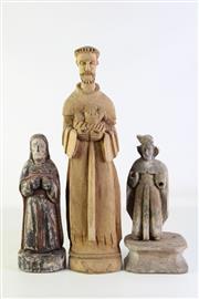 Sale 8905S - Lot 609 - A set of three vintage Santos religious figures, tallest 52cm.