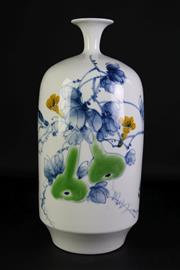 Sale 8926A - Lot 680 - Vegetable themed Chinese Bottle vase with narrow neck (H45cm)