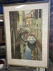 Sale 8932 - Lot 2029 - Graham Bannister - Venice screenprint ed. 94/150, 94 x 67cm (frame), signed
