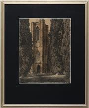 Sale 9055A - Lot 5087 - Hardy Wilson (1881 - 1955) - St Johns Church, Camden, 1917 31 x 24.5 cm (frame: 52 x 43 x 2 cm)