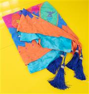 Sale 9066H - Lot 182 - A large silk wall hanging depicting a moonscape in bright colours with tassels, backed with a light blue silk. Artist Samantha Pasfi...