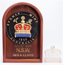Sale 9190E - Lot 91 - A reproduction Sydney mint panel, Height 77cm, together with the crown mould