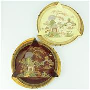 Sale 8332 - Lot 12 - Carlton Ware Chinese Figures Pair of Triangular Folded Plates