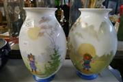 Sale 8360 - Lot 30 - Milk Glass Painted Comical Morning & Night Vases