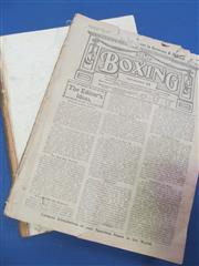 Sale 8419A - Lot 64 - Early Boxing - 5 bound volumes (no covers) of Boxing (UK), 1915, 1917-1919; plus Boxing News (bound) 1941 & 1947