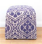 Sale 8471H - Lot 22 - An indigo geometric linen ottoman, W 50cm