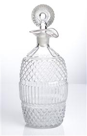 Sale 8528A - Lot 52 - A Georgian style moulded glass decanter with ribbed and strawberry design, and bullseye stopper, total H 23cm