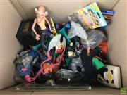 Sale 8559A - Lot 85 - Box of Vintage Toys, incl 1980s Wrestling Figures, Batman, Masters of the Universe, Star Wars watch in box, Star Trek Odo and Voya...