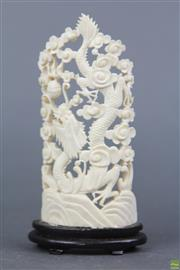 Sale 8621 - Lot 37 - Small Carved Dragon Themed Ivory Panel