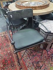 Sale 8648C - Lot 1037 - Set of Six Metal Carver Chairs with Cushion Seat